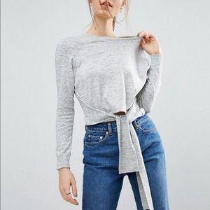 ASOS Gray Cropped Sweater Tie Front